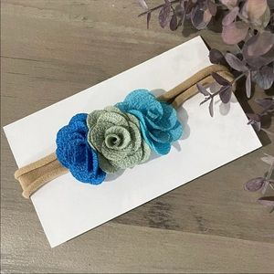 3/$20 🔷 Blue Floral Baby Girls Bow Headbands